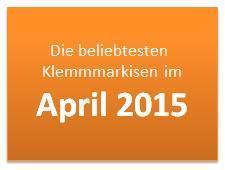 Die beliebtesten Klemmmarkisen im April 2015